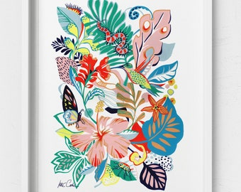 Tropical bird and insect illustration, art print from an original Kate Cooke Painting.