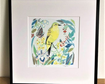 Wagtail illustration, decorative bird, art print by Kate Cooke