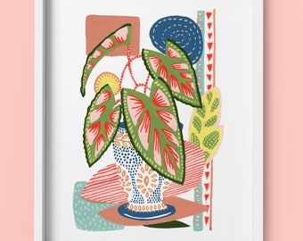 Pot plant illustration, art print from an Original gouache painting by Kate Cooke