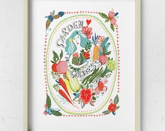 Garden Goddess illustration, art print, taken from a painting by Kate Cooke