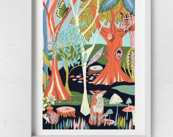 A fox and owl woodland illustration, bold contemporary art print, nursery picture