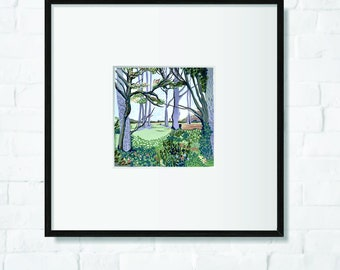 A woodland landscape, art print, painted originally in gouache, square, forest