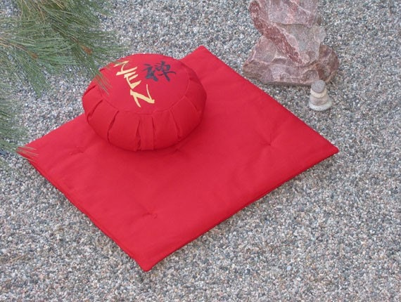 Zafu Zabuton Meditation Cushion Pillow Set Zen Kanji Red