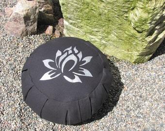 Zafu Meditation Cushion Pillow  Lotus  black / silver