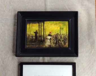French Fine Art Impressionist Style Painting with Pencil Study
