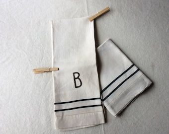 Vintage French Linen Hand Towels -  Torchons - French Country Kitchen