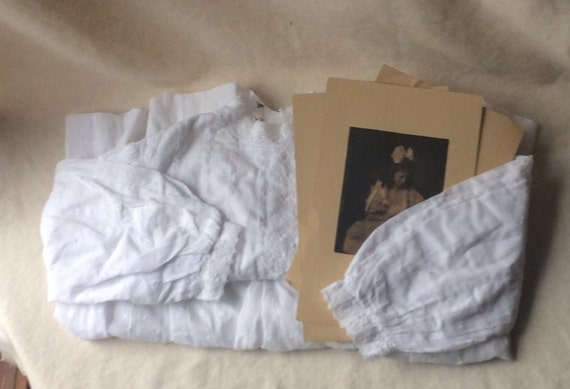 Victorian White Cotton Tea Gown,Girls  Dress