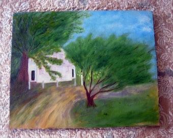 Vintage MCM - Oil on Canvas. Old Cape Cod- Cemetery -Landscape Painting
