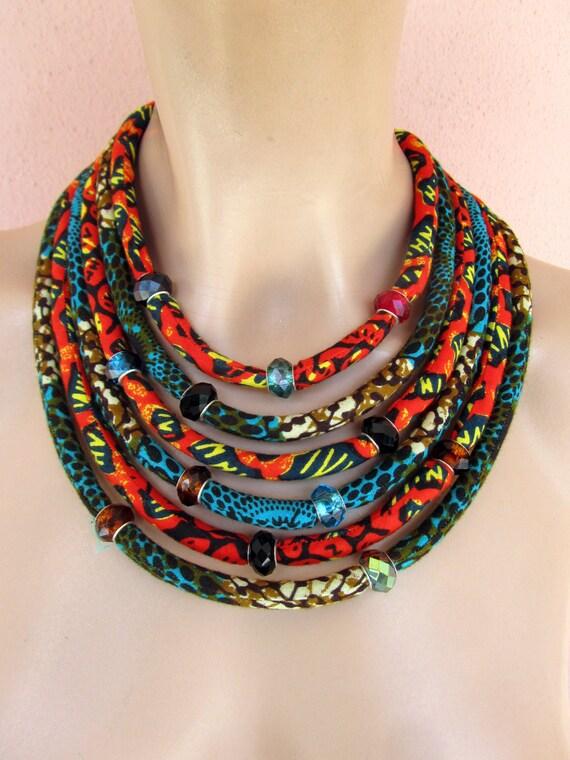 grande vendita 87df8 88588 Collana africana / collana di stoffa, gioielli africani, cera gioielli  stampa tessuto