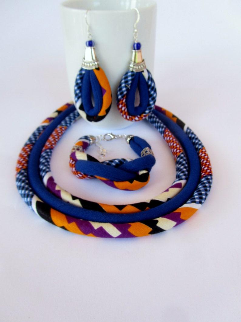 Cobalt-Blue Kente Set  African Jewelry  Earrings Bracelet image 0