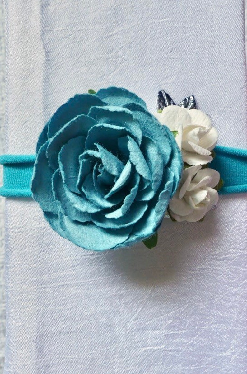 Blue flower and white rose headband