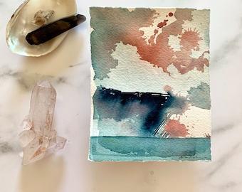 original watercolor artwork, landscape painting, modern wall decor, contemporary art, seascape storm, ocean evening, coastal sketch