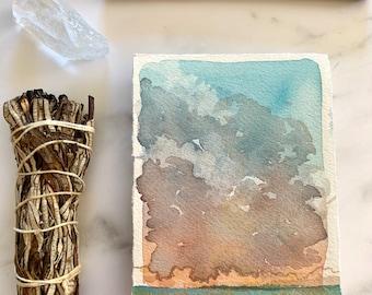 original watercolor painting, wall decor, contemporary art, sunrise art, sunset landscape sketch, watercolour artwork, prairie grass