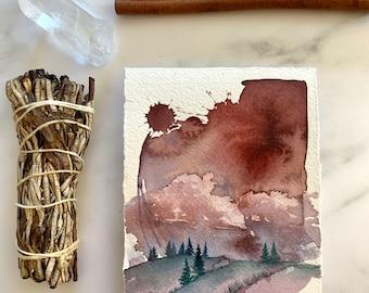 Autumnal Art, original watercolor landscape, Fall Colors, Mabon, contemporary art, watercolour artwork, meditation tool, autumn painting