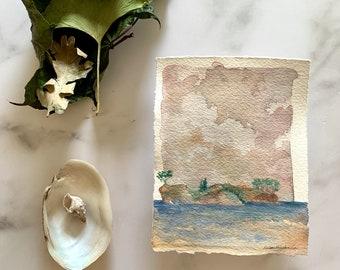 original watercolor artwork, landscape painting, modern wall decor, contemporary art, ocean coastal seascape, landscape sketch, island art