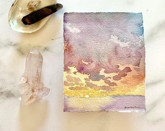original watercolor artwork, landscape painting, modern wall decor, contemporary art, seascape sunset, ocean evening, coastal sketch