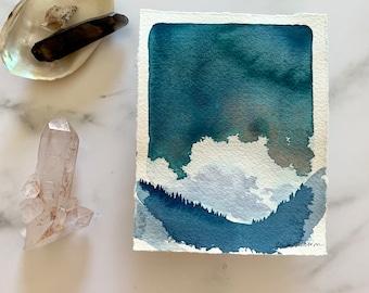 original watercolor artwork, landscape painting, modern wall decor, contemporary art, forest evening, landscape sketch, storm clouds