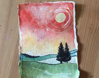 Abstract Landscape, Mini Painting, Galaxy, Modern Art, Watercolor Painting, Landscape Painting, Sunset Moon, Contemporary, Forest at Sunset