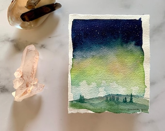 original watercolor landscape, northern lights art, contemporary art, celestial painting , landscape sketch, Aurora Borealis artwork, starry