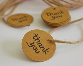 Brown Kraft Thank You Tags 25+ Pieces Twine Included / Weddings / Showers / Parties / Graduation / Anniversary