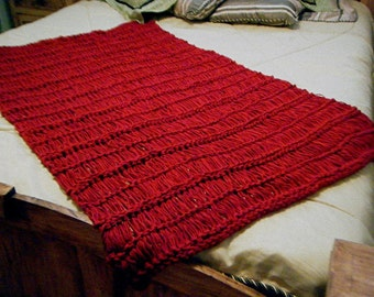Knit Throw Blanket, Dark Red Crimson Scarlet Ruby, Fringe Will Be Your CHOICE of COLORS