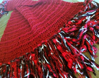 Red Throw Blanket Red Decor Wedding Gift with Black and White Fringe Home Decor Housewares Afghan Decor