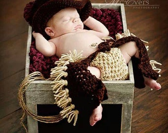 Newborn baby cowboy chaps  star and  hat    crochet photo props photography girl boy