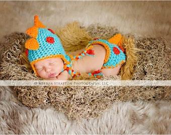 Newborn dino hatchling diaper   cover hat set crochet Newborn photo props photography boy girl