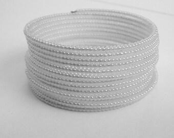 White Glass Seads Memory  Wire Beadwork  Bracelet, Wedding Jewelry
