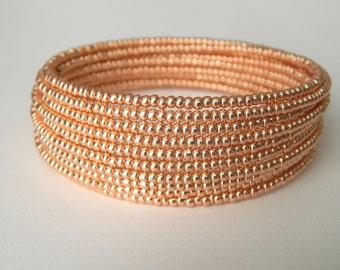 Rose Gold Memory Wire Beadwork Bracelet
