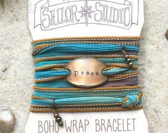 PEACE- Boho Silk Wrap Bracelet, Silk Ribbon Bracelet. wrap bracelet. Boho jewelry. Christian jewelry