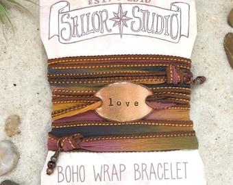 LOVE- Boho Silk Wrap Bracelet, Silk Ribbon Bracelet. wrap bracelet. Boho jewelry. Christian jewelry