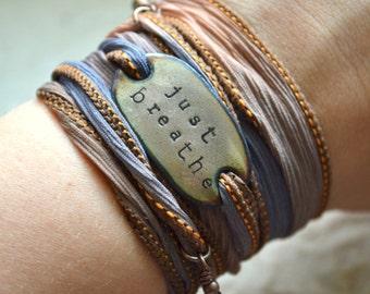 JUST BREATHE, just breathe bracelet, Boho Silk Wrap Bracelet, bohemian, Just breathe wrap bracelet, boho bracelet