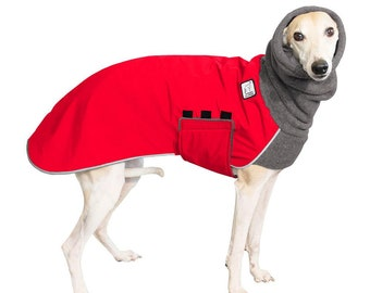WHIPPET Winter Dog Coat, Winter Coat for Dogs, Waterproof Winter Clothes, Fleece Dog Snood, Winter Jacket, Dog Clothing, Dog Clothes