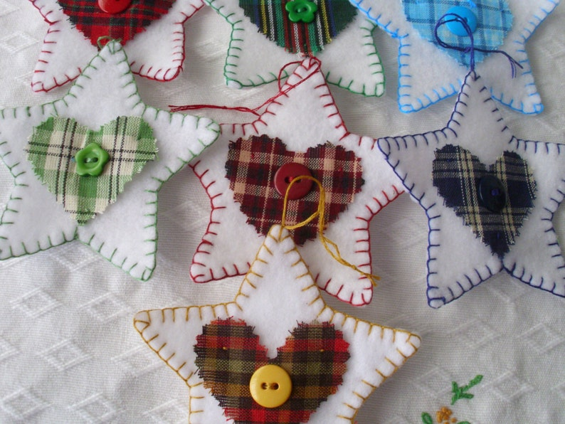 Felt Tree Ornaments Set of 10   Package Tags  With Homespun Fabric Trim  Hand Stitched  Garland  Gift Tags  Small Gifts