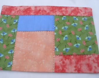 Blue Green Coral Peach Mug Rug / Candle Mat / Small Quilt / Handmade and Quilted / Mini Quilt / Reversible