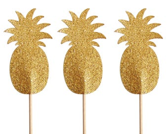 Gold Pineapple Cupcake Toppers 12CT, Tropical Party, Bridal Shower, Baby Shower, Luau Party,Pineapple Party, Hawaiian Decor - No529