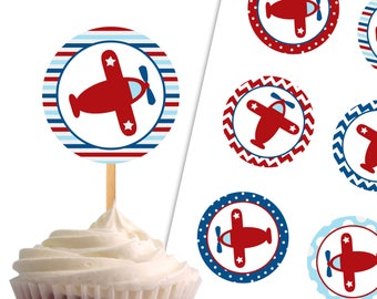 Airplane Cupcake Toppers, Birthday Printable Cupcake Toppers, Baby Shower Airplane Theme Party Decor - Instant Download - DP432