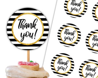 Thank You Cupcake Toppers Printable Tags Party Circles 2 inch Black and White Bridal Shower Instant Download DP841
