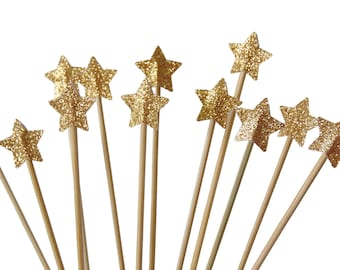 Twinkle Twinkle Little Star Gold Drink Stirrers 12CT, Cupcake Toppers, Cake Toppers, Cocktail Stirrers, Swizzle Sticks, Graduation - No791
