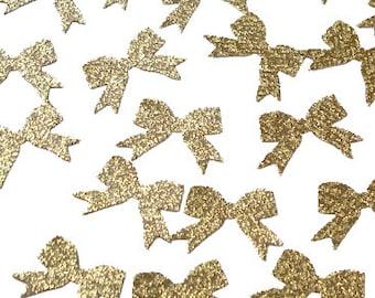 50 Glitter Gold Bow Confetti, 1st Birthday Party Decorations - No192