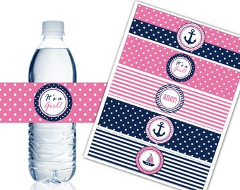 nautical water bottle labels printable water bottle labels nautical theme party decor its a girl baby shower instant download dp450
