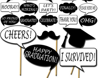 graphic about Free Printable Graduation Photo Booth Props referred to as Commencement picture booth props Etsy