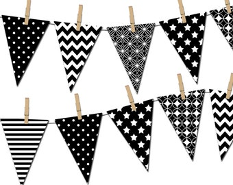 black and white banner printable party banner happy birthday pennant banner baby shower banner photo prop instant download dp378