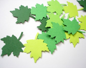 100 Mixed Green Maple Leaf die cuts punch confetti scrapbooking embellishments - No677