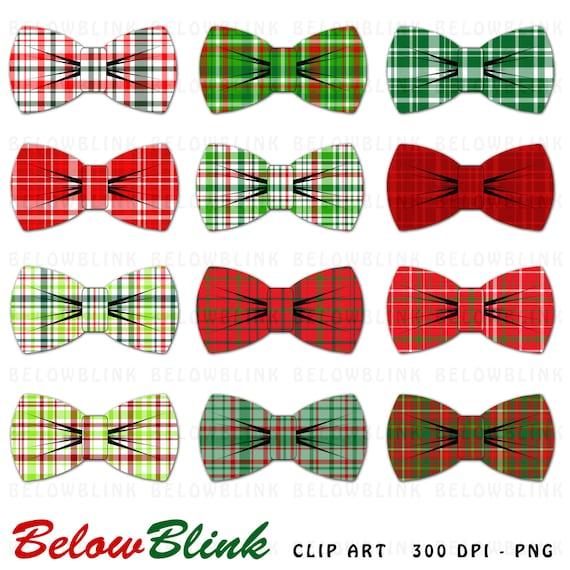 Christmas Plaid Bow Ties Clipart Clip Art Digital Scrapbooking Etsy