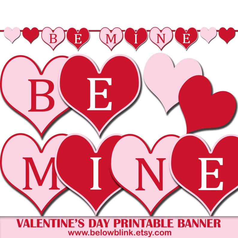 photograph relating to Valentine Banner Printable called Be Mine Valentines Working day Banner, Printable Image Prop Banner, Celebration Decorations, Hearts Banner, Valentines Working day Get together Decor - DP420