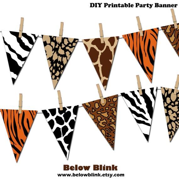 safari banner jungle printable party banner happy birthday pennant