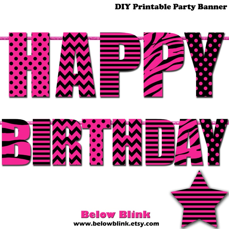 photograph relating to Birthday Banner Printable titled Adorable 16 Joyful Birthday Banner, Printable Banner, Purple and Black Banner, Social gathering Decorations - Instantaneous Down load- DP382