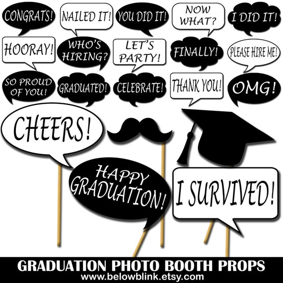 image relating to Graduation Photo Booth Props Printable identified as Commencement Image Props, Printable Image Booth Props, Speech Bubbles Occasion Props, Commencement Get together Props - DP416